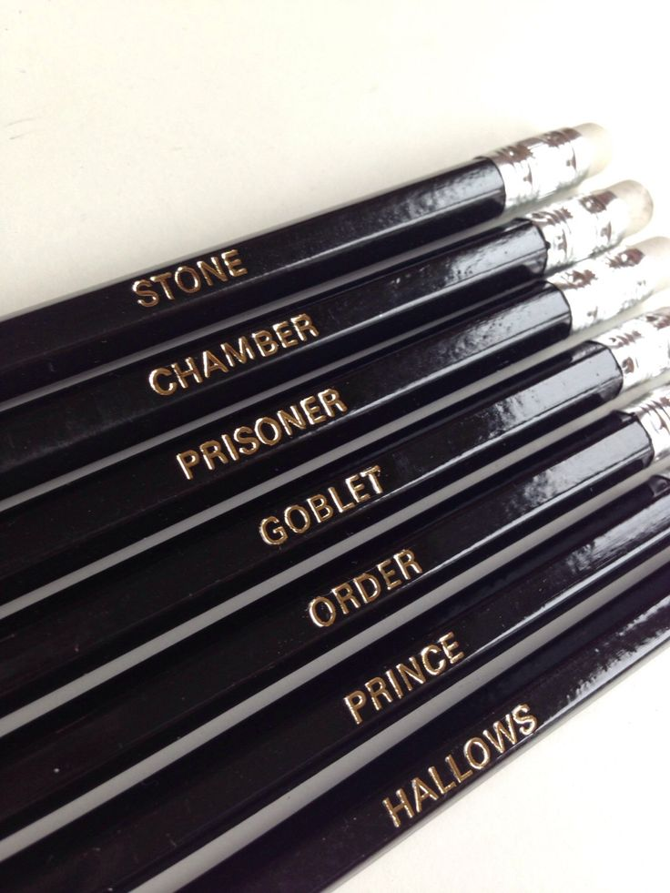 Harry Potter Pencils. Set of 7 pencils with book names foil printed in gold. by NevinaandThom on Etsy https://www.etsy.com/uk/listing/458153050/harry-potter-pencils-set-of-7-pencils