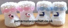 Free baby crochet pattern for booties from http://www.patternsforcrochet.co.uk/cutie-booties-usa.html #crochet #patternsforcrochet #freecrochetpatterns