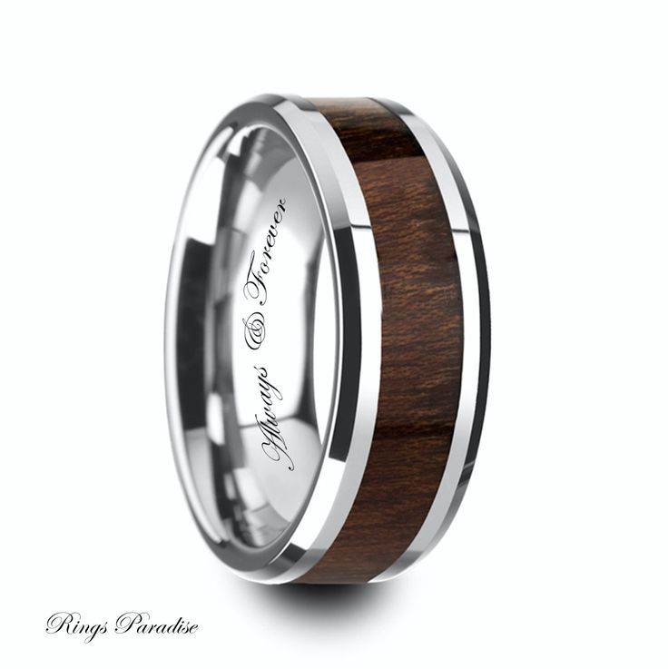 $270 www.ringsparadise.com  Wood Inlaid, Tungsten Ring, Mens Wedding Band, Tungsten, Anniversary, Promise Ring, Tungsten Rings, Mens Wedding Rings, Tungsten Band, Rings by RingsParadise on Etsy