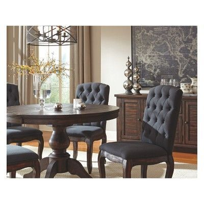 Set Of 2 Trudell Dining Upholstered Side Chair Dark Brown