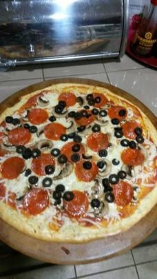 NO Dough Pizza  Low Carb Cream Cheese Pizza Crust. Photo by Chef #1802634723