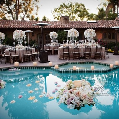 17 best images about poolside wedding on pinterest for Garden pool party ideas