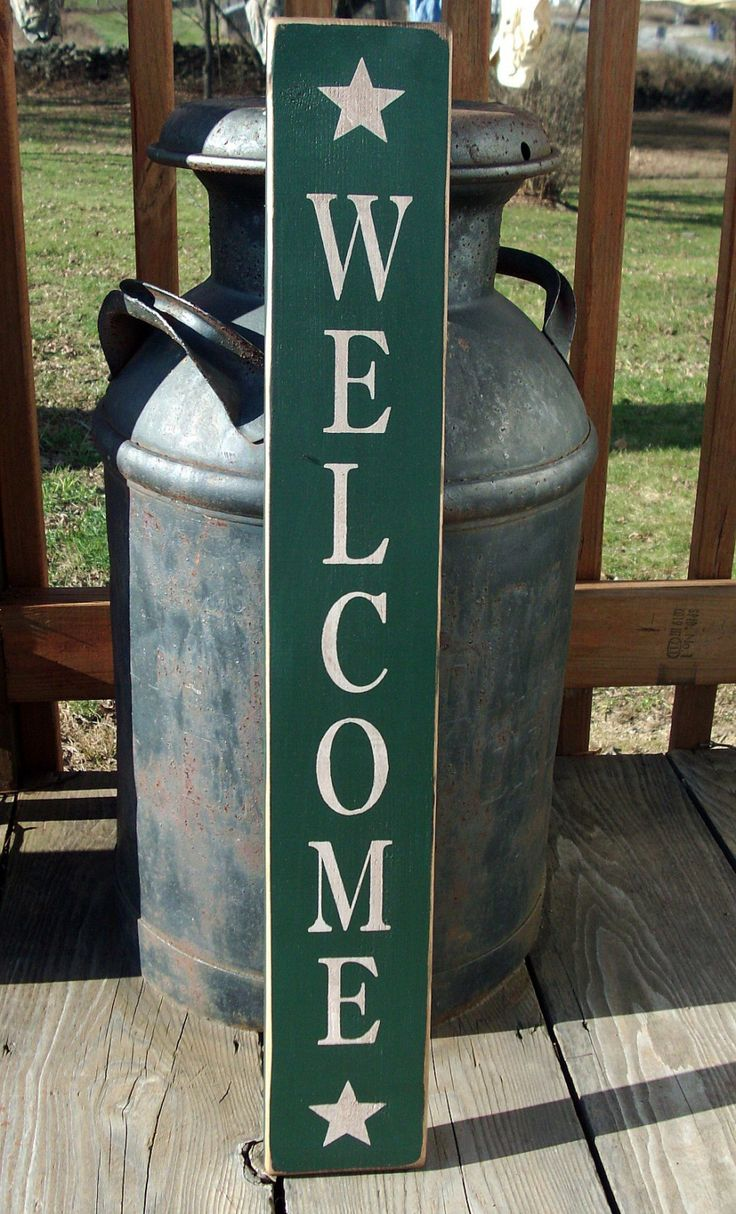 Primitive Wood Signs   Primitive Wood Welcome Sign with Stars by BedlamCountryCrafts