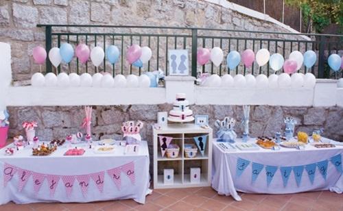 Genial fiesta de cumpleaños en azul y rosa para niño y niña