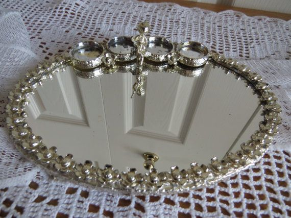 Vintage SILVER VANITY TRAY Lipstick Holder by CreativeWorkStudios, $25.00