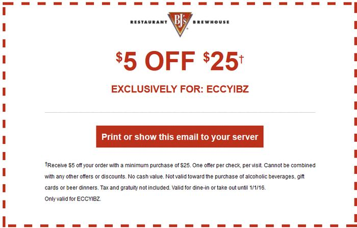 Bj's brewery coupons november 2018