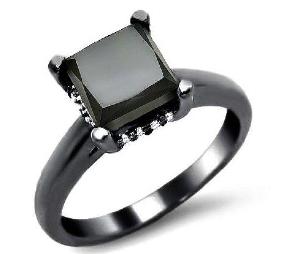 2.15ct Black Princess Cut Diamond Engagement Ring 14k Black Gold