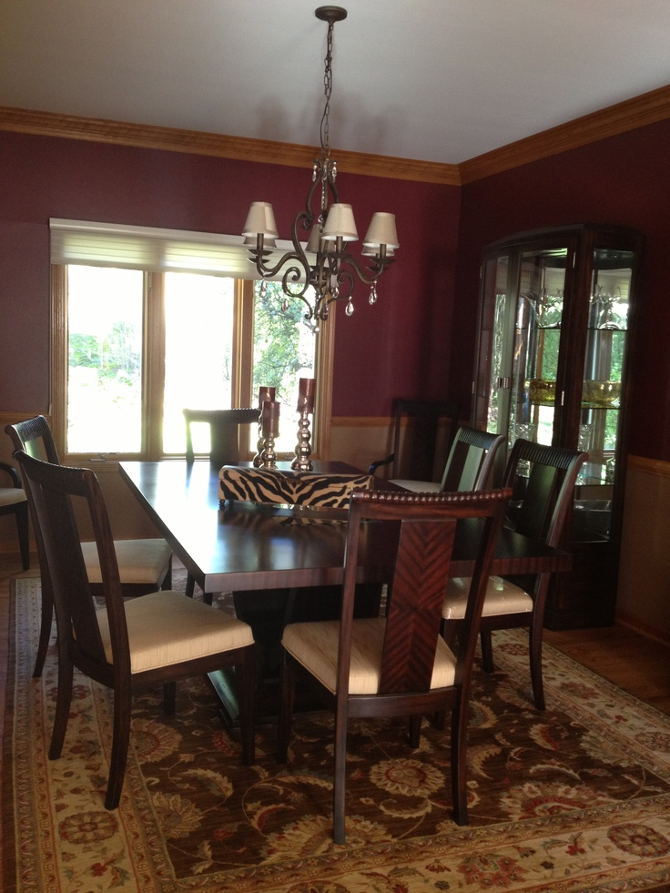 Dining room maroon my home pinterest tan dining for My dining room