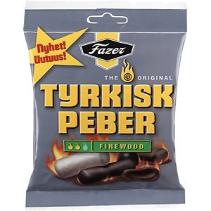 Tyrkisk Peber Firewood is a hot mix of soft salmiak and licorice figures for all salmiak/licorice lovers.