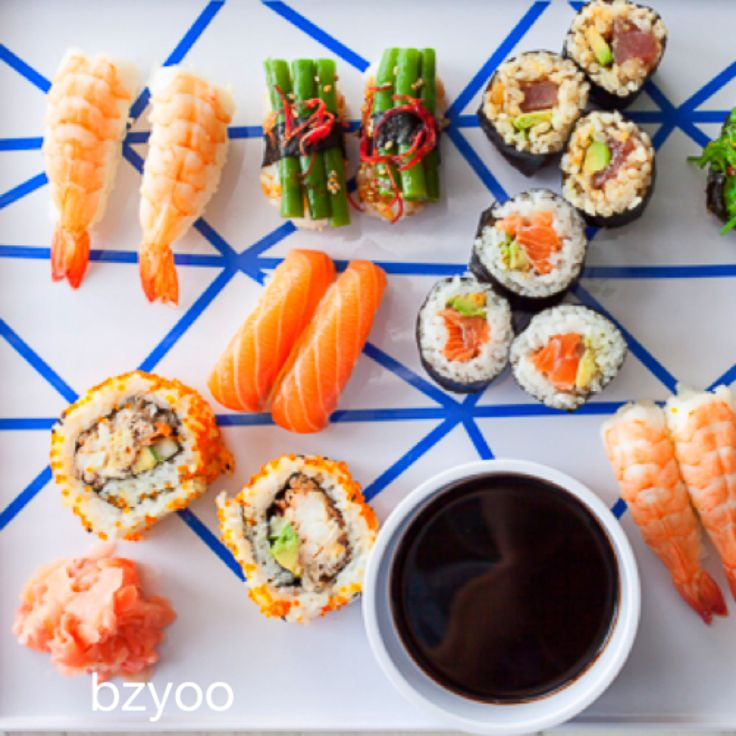 Constructed food on blue linear pattern #blue #bzyoo #homedecor #decor