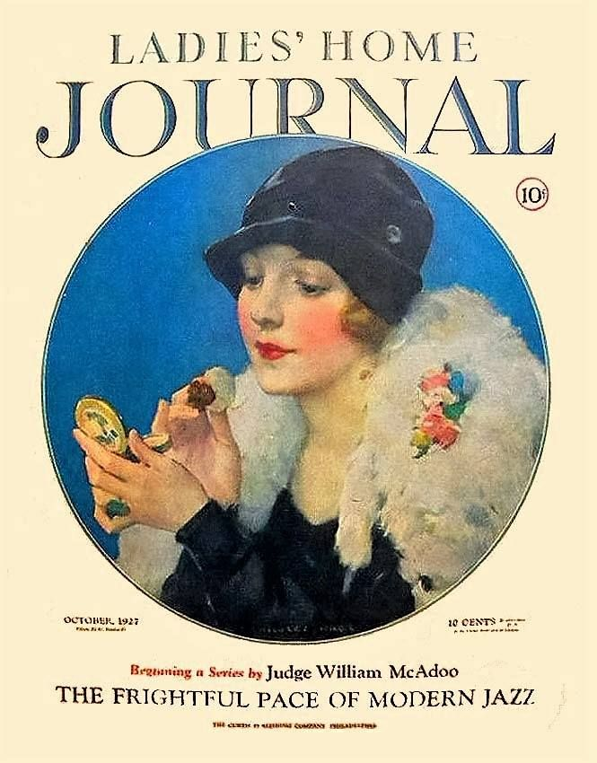 Ladies Home Journal Flapper Applying Makeup  October 1927