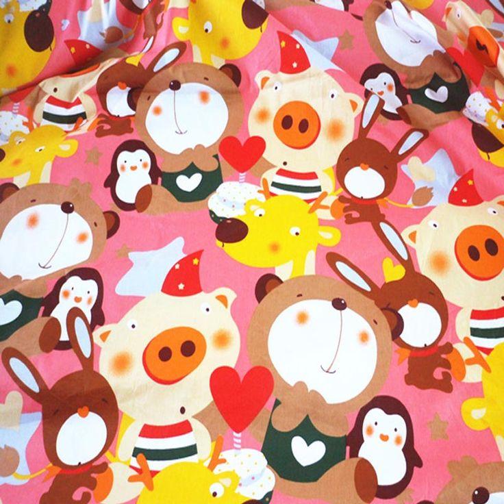 100 * 160 см прекрасный розовая свинья медведь животные 100% хлопок саржа помнится DIY куклу шик ручной лоскутная подушка стегальную ткань