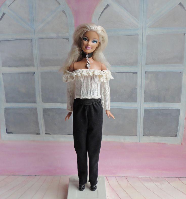 Наряд для Барби: укороченный кружевной топ, брюки, чокер. #evaidolls