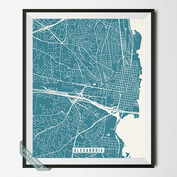 206 best united states street map prints images on pinterest city alexandria print virginia poster alexandria map by vocaprints gumiabroncs Images