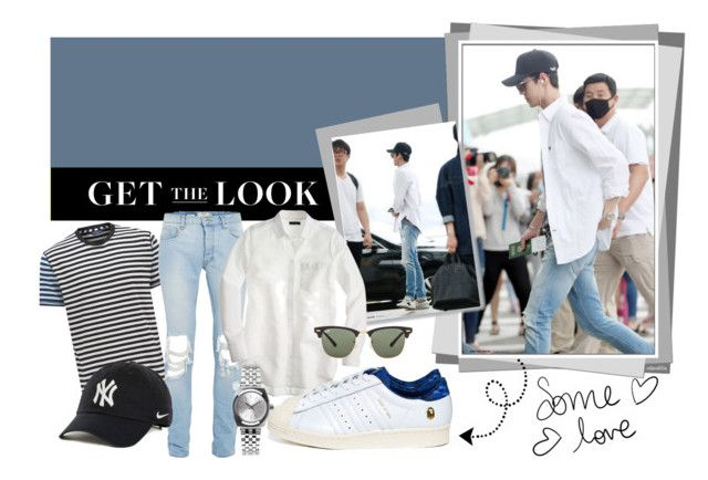 Get The Look: Oh Sehun by ninjasofia on Polyvore featuring J.Crew, Nixon, NIKE, Ray-Ban, Paul Smith, Topman, A BATHING APE, EXO, ohsehun and celebairportstyle