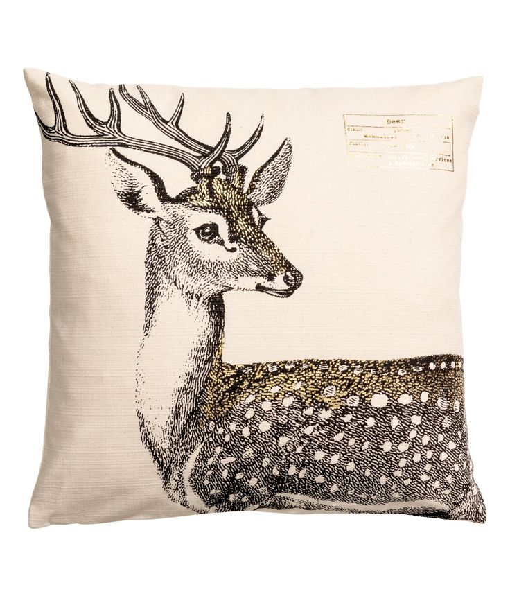 Check this out! Cushion cover in slub-weave cotton fabric with a printed motif at front and concealed zip. - Visit hm.com to see more.