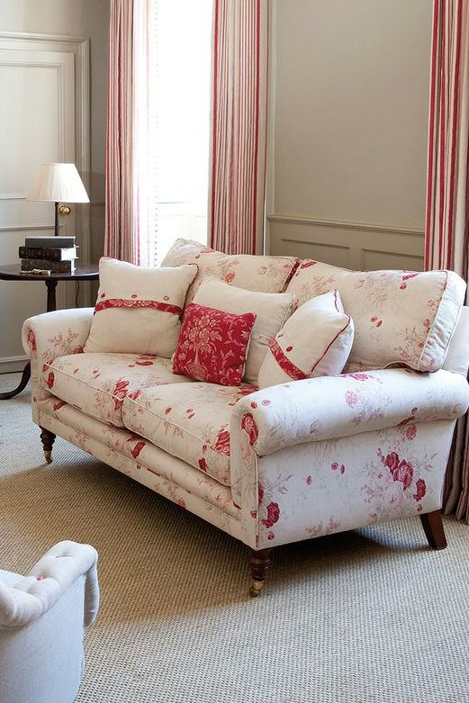 Sofa covered in Kate Forman 'Roses'. Walls painted in Farrow  Ball 'Light Grey'.