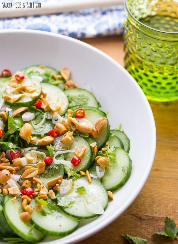Crunchy Asian Cucumber Salad with Roasted Peanuts | sweetpeasandsaffron.com