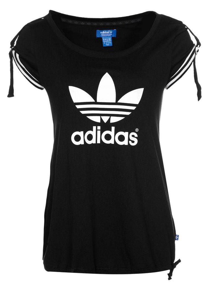 adidas originals women clothing | adidas Originals Print T-shirt - black - Zalando.co.uk