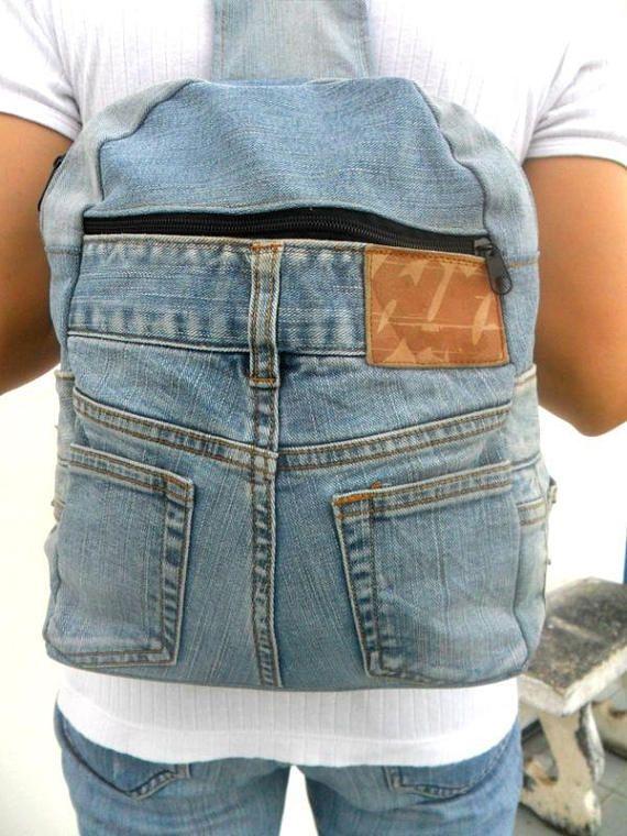59148777da Denim Backpack, Levis jeans, jean bag, recycled jeans, Vintage Bag,  Bohemian Bag, recycled jeans bag, denim handbag, jeans Handbags, gift |  Jeans | Jean ...
