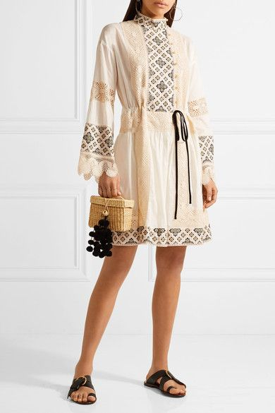 Tory Burch - Carlotta Lace-trimmed Embroidered Cotton-voile Mini Dress - Off-white