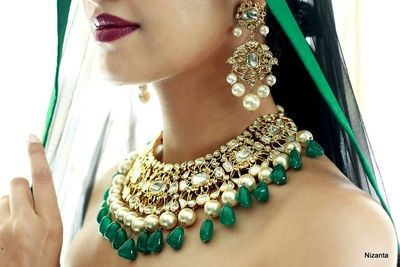 Bridal necklace with emeralds and polki , earrings, gold and green earrings