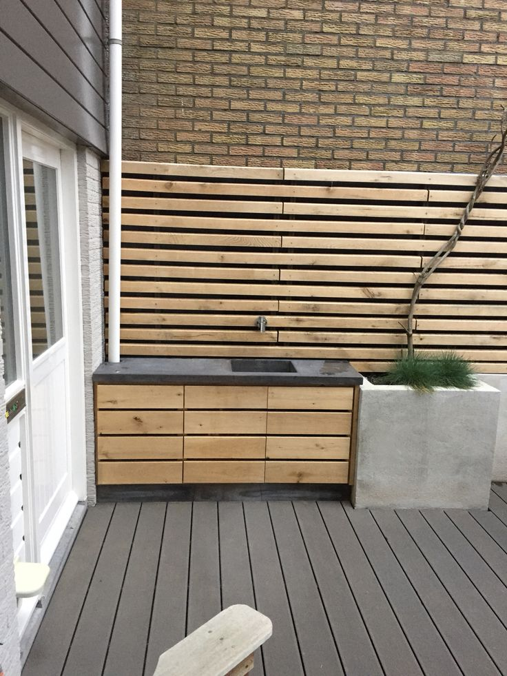 Front yard sink from cement and oak.
