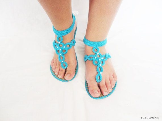 Wedding crochet sandals,Blue sandals decorated with white pearls, Pearls sandals, Bridal shoes, Bridesmaid flats,Summer shoes,Bridal party
