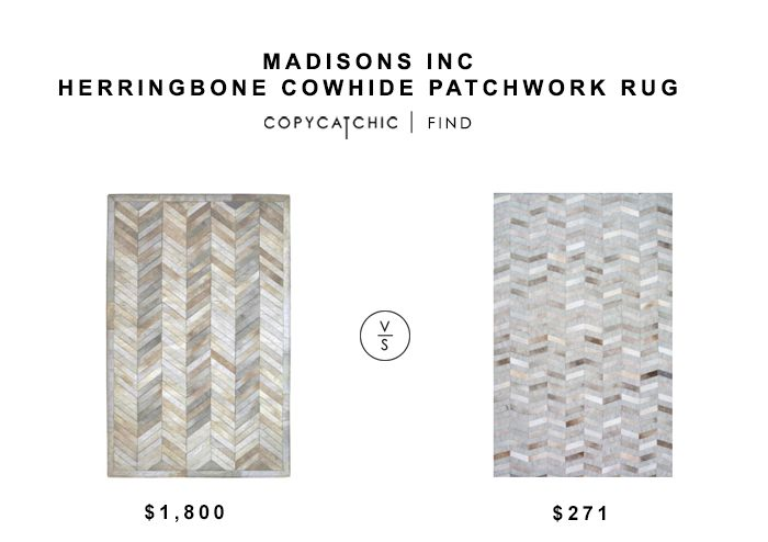 Madisons Inc Herringbone Cowhide Patchwork Rug for $1800 vs Nuloom Cowhide Mtch Silver Area Rug for $271 copycatchic luxe living for less budget home decor
