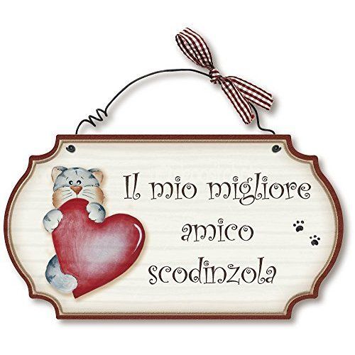 Aracne Italy targhette country in legno da appendere GATTO VIZIATO