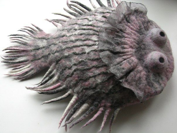 Дина Ронина - great puffer fish.  Felted, maybe?