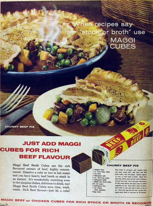 Maggi beef cubes, 1962 | VINTAGE ADS | Beef, Ethnic recipes