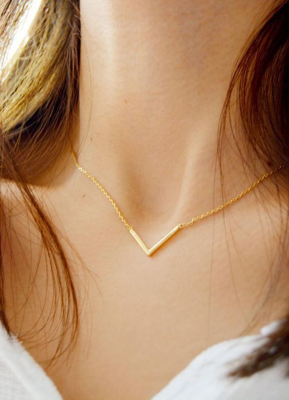 V Shaped Necklace,14K Solid Gold Chevron Necklace,Dainty Chevron V Necklace,Minimalist V Necklace Chevron Necklace,