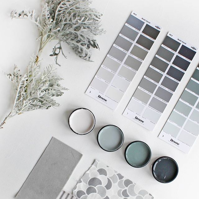 Need to choose a few great shades of grey? Here are some of our favourites. Testpots from left, Resene Pale Slate, Resene Rolling Stone, Resene Dark Slate, Resene Cod Grey. #Resene #ReseneGreys #Resenemoodboard @marthasfabrics