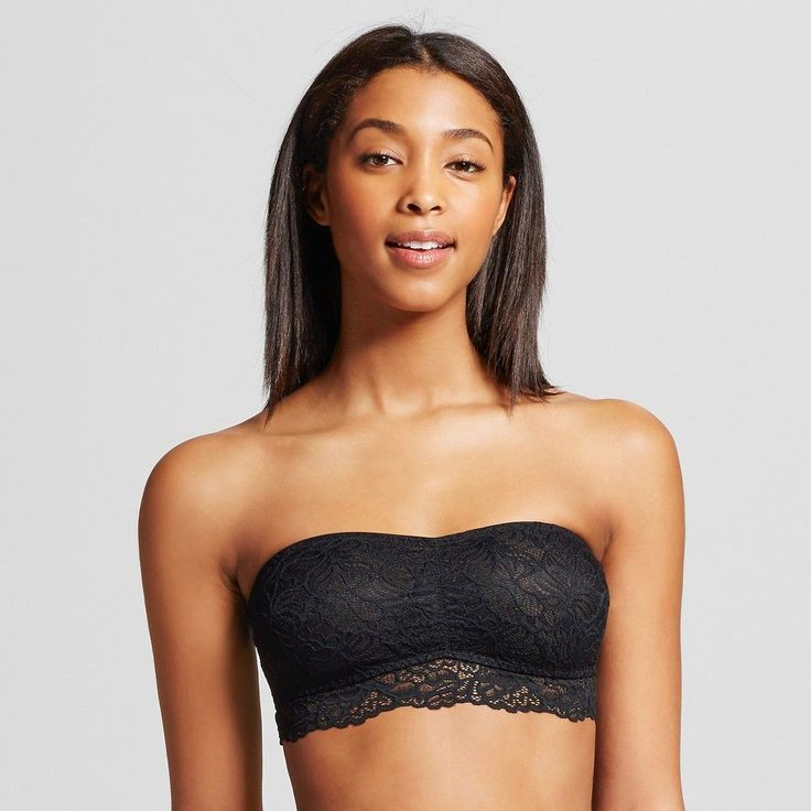 Women's Lace Bandeau Bra Ebony L - Xhilaration