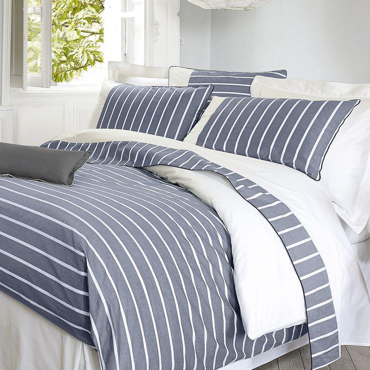 housse de couette r versible percale de coton rayure bleu parement blanc marin descamps. Black Bedroom Furniture Sets. Home Design Ideas