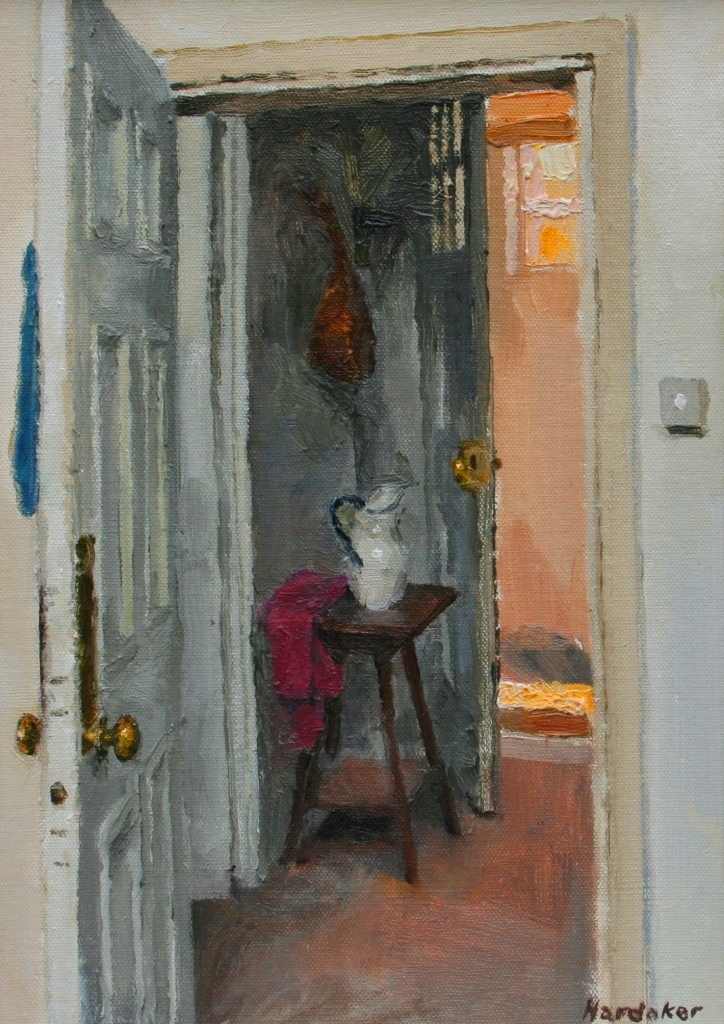 Charles Hardaker this is showing a door open with a jug on a stall with a flower in