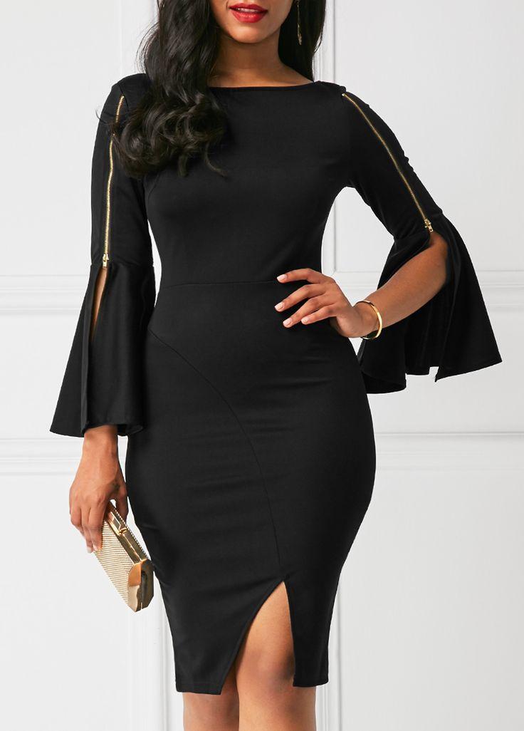Side Slit Flare Sleeve Zipper Embellished Black Dress on sale only US$33.95 now, buy cheap Side Slit Flare Sleeve Zipper Embellished Black Dress at liligal.com