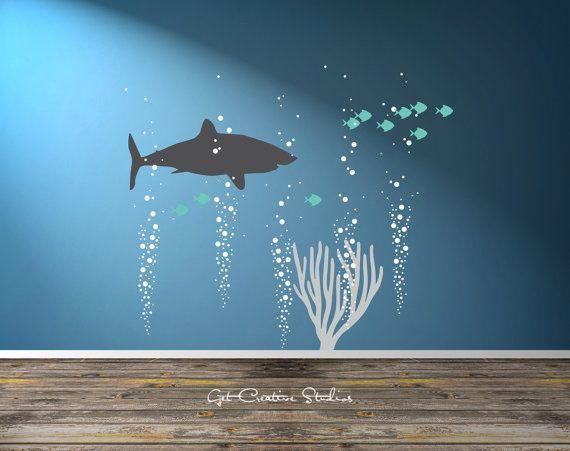 Shark Decal Great White Decal Ocean Scene Wall Art Underwater Bubble Wall Decal Nautical Theme Ocean Nursery Nautical Boys Room Decal