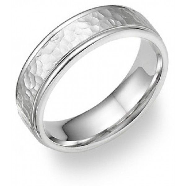 Stunning Hammered White Gold Wedding Band