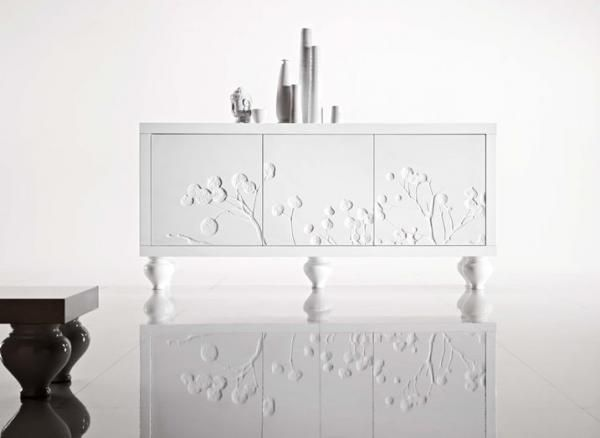 Duebi, Contemporary Sideboard With Engraved Branch Design In White  Gloss/Matte Finish. Find This Pin And More On Dubei Living Room Storage  Furniture ...