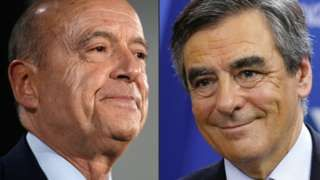 Image copyright AFP Image caption French conservative rivals Alain Juppe (L) and Francois Fillon The race to be the French conservative candidate for president is now between two ex-prime ministers. Both want big public sector cuts and business incentives, inclu