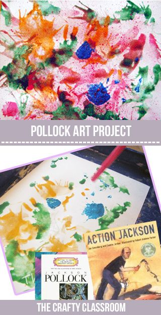 Action Jackson was most known for his painting styles and techniques. He placed his canvas on the floor and used a varitey of different brushes and tools to drip paint. This is a great activitiy for younger children to explore paint splatteringand drips. Materials:  White Paper Paint Water Toothbrush, Straws, Eye Droppers ect. Pollack Art …