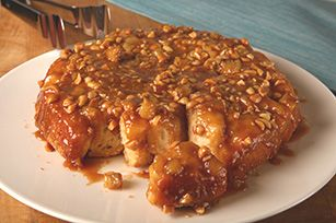 Peanut Butter-Banana Monkey Bread Recipe - Kraft Recipes...Peanuts, brown sugar and pancake syrup make this Peanut Butter-Banana Monkey Bread a nutty, sweet and sticky treat.