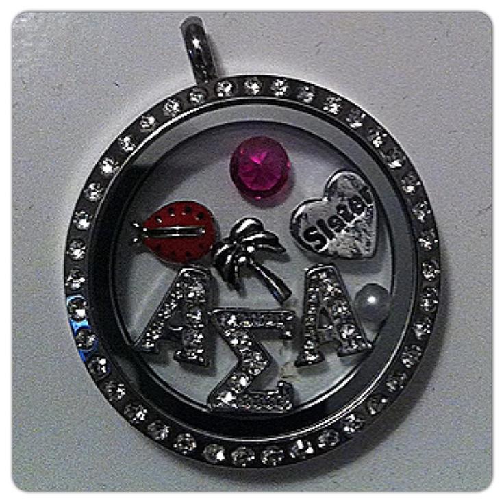 Alpha Sigma Alpha, ASA, Origami Owl Sorority Locket Necklace, Ladybug, Palm Tree www.owllockets.com