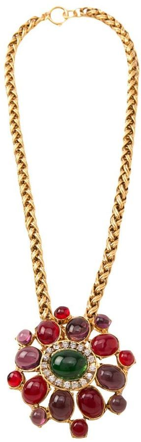 #Chanel Vintage large pendant necklace. This one if from the 80's. Lovely fall colors, absolutely gorgeous.