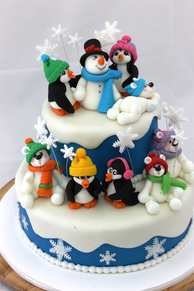 winter friends cake