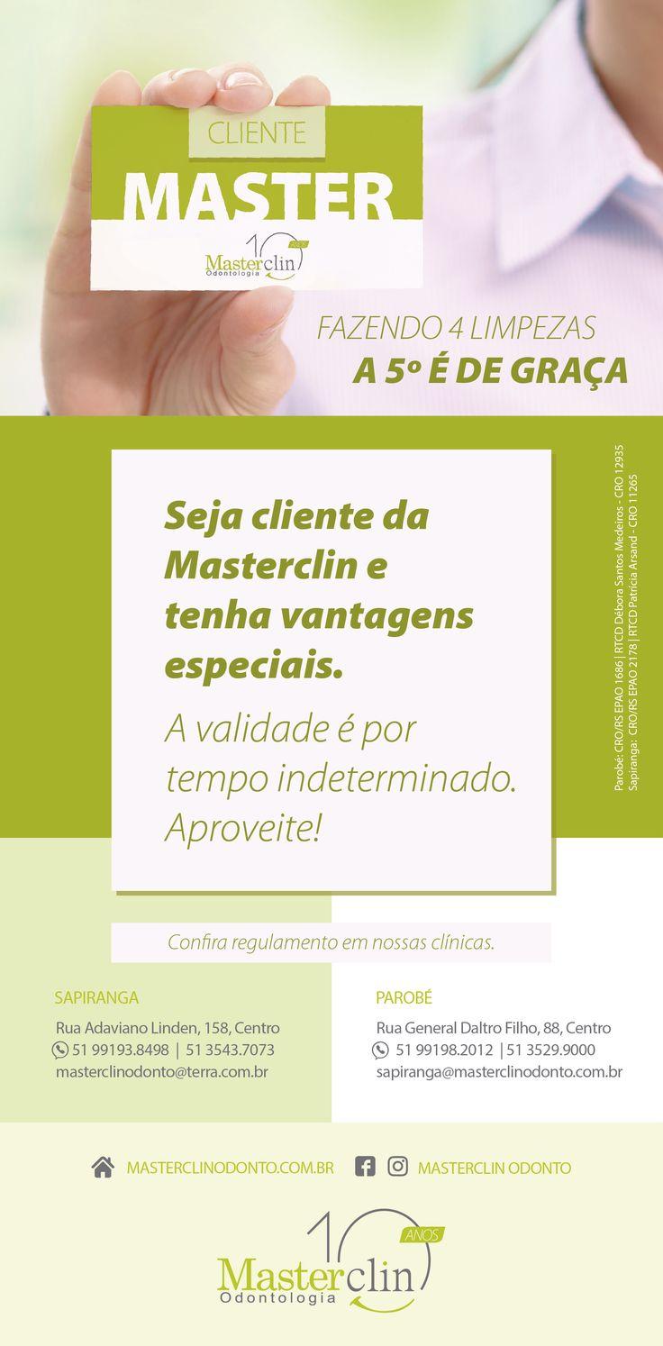 Campanha sobre o Cartão fidelidade Criada pela Agência Conceito para o Cliente Masterclin Odonto.