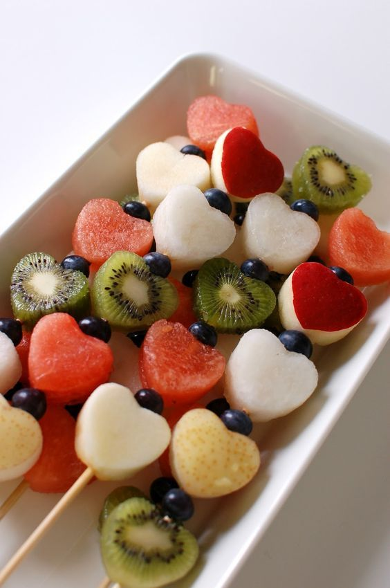 Use a heart shaped cookie cutter to make these cute Valentine's fruit kabobs. To keep apples and pears from browning, soak them for a minute in a mixture of 1 1/2 tbs of lemon juice to 1 cup water.