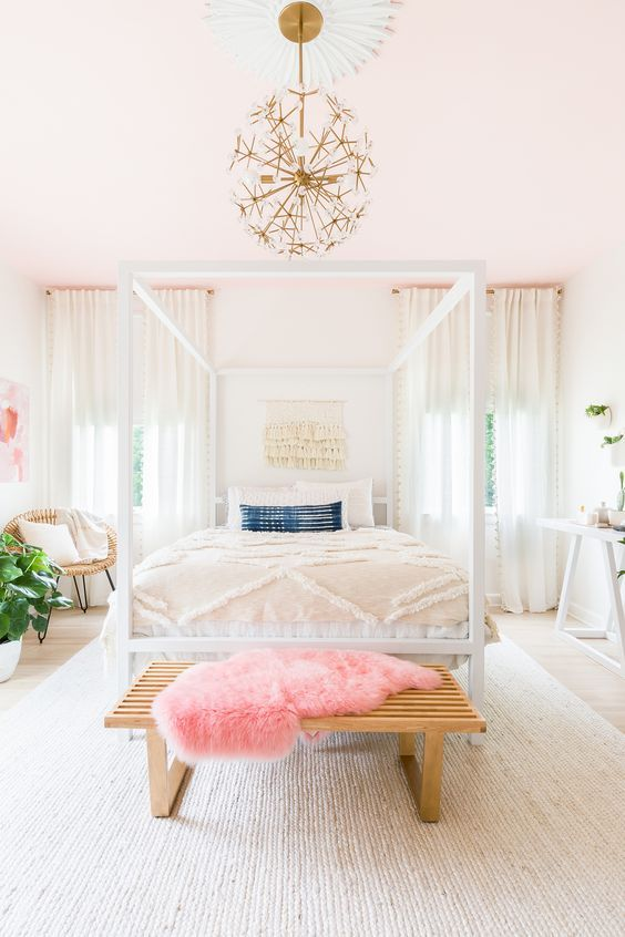 Elsie Larson of @abeautifulmess's master bedroom with vintage african indigo lumbar pillow #vintagerugshopinthewild